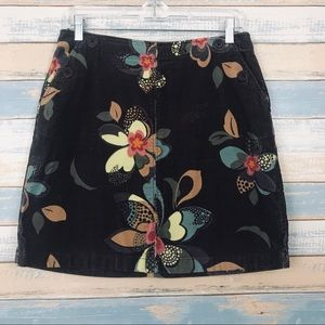 [ Boden ] Brown Corduroy Floral Skirt Size 12